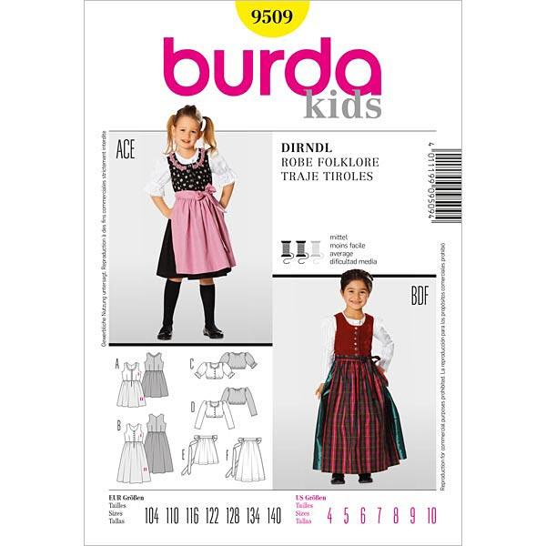 Mädchen-Dirndl, Burda 9509 | 104 - 140 - Schnittmuster Kleinkind ...
