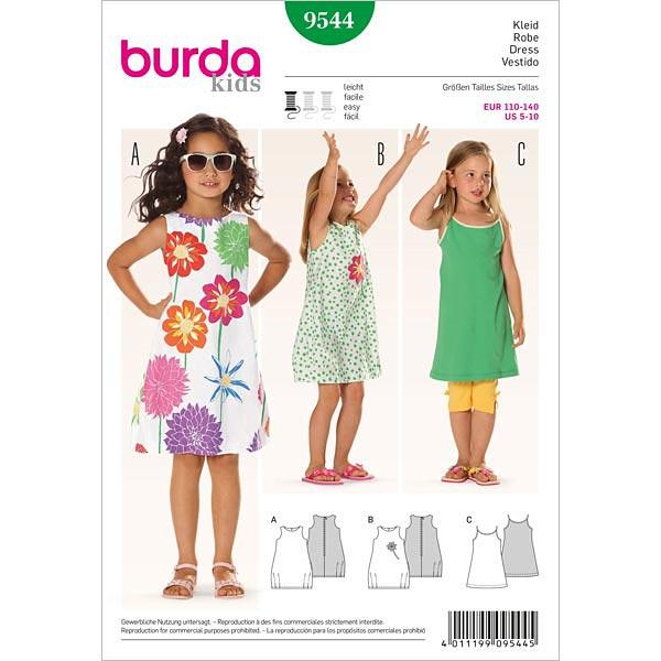 Kleid, Burda 9544 | 110 - 140 - Schnittmuster Kleinkind- stoffe.de