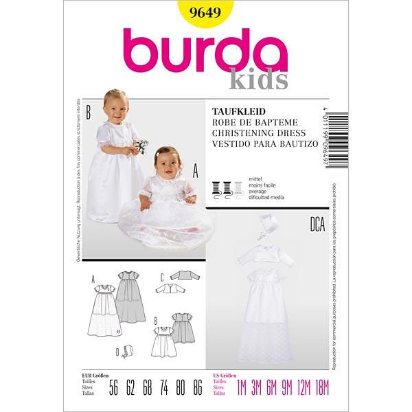 Taufkleid, Burda 9649 | 56 - 86 - Schnittmuster Baby- stoffe.de