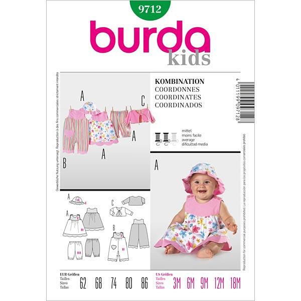 Overall | Kleid | Hose | Jacke, Burda 9712 | 62 - 86 - Schnittmuster ...