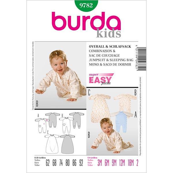 Overall para bebé / Saco de dormir, Burda 9782 - patrón de corte ...