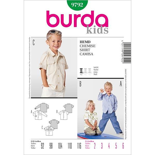Hemd, Burda 9792   92 - 116 - Schnittmuster Baby- stoffe.de