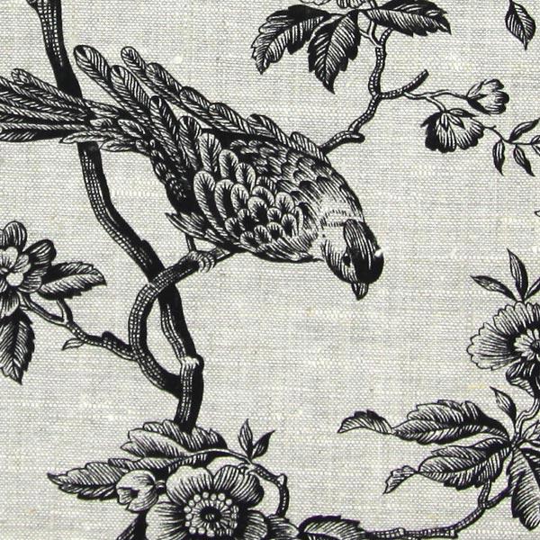 Leinenstoff Mesange Vogel – schwarz