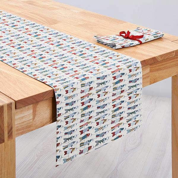 tissu en coton cretonne mobile carpe koi bleu rouge cretonne. Black Bedroom Furniture Sets. Home Design Ideas