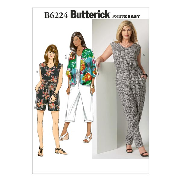Plus Size - Jumpsuit, Butterick 6224   52 - 58 - Schnittmuster Tops ...