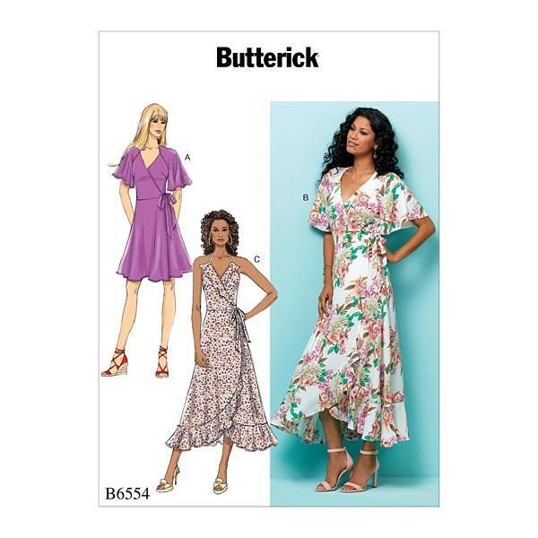 Wickelkleid, Butterick 6554 | 32 - 40 - Schnittmuster Kleid- stoffe.de