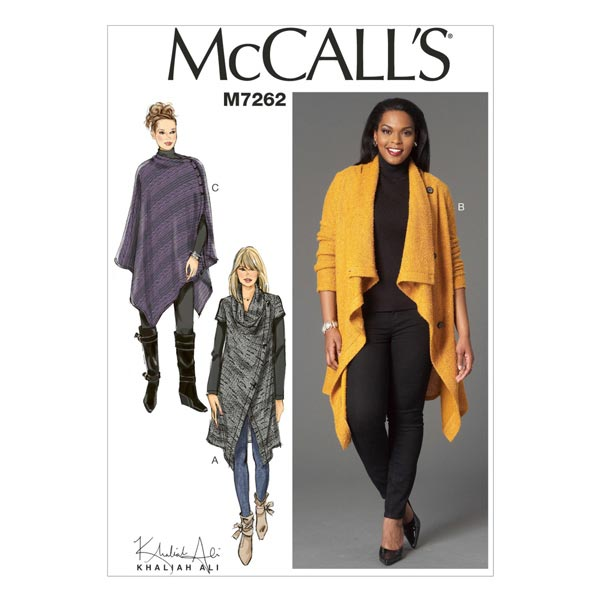 Poncho/Jacke, McCalls 7262 | 34-50 - Schnittmuster Kleid- stoffe.de
