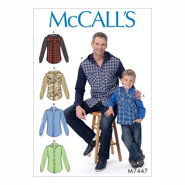 Hemd, McCalls 7447   44 - 58 - Schnittmuster Herren- stoffe.de