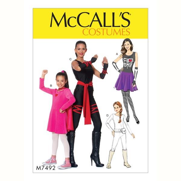 Kostüm Ninja, McCalls 7492   128 - 152 - Schnittmuster Karneval ...
