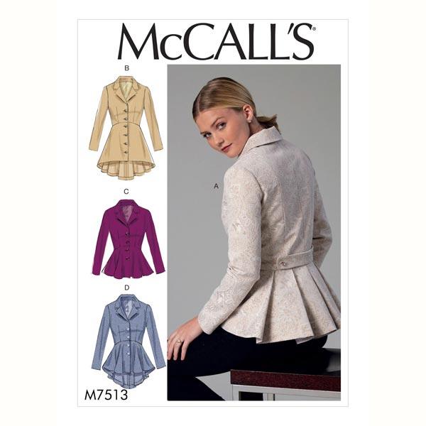Chaqueta, McCalls 7513 | 40 - 48 - Patrón de corte Abrigos y ...