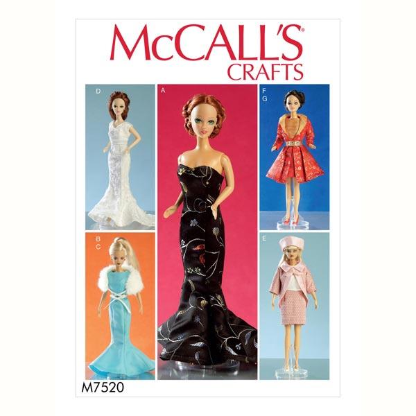 Ropa de muñeca, McCalls 7520 - Patrones de corte Vestidos de muñeca ...