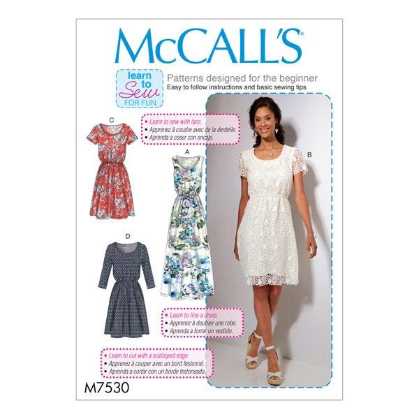 Kleid, McCalls 7530 | 32 - 40 - Schnittmuster Kleid- stoffe.de