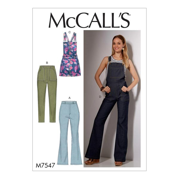 Jeans / Latzhose, McCalls 7547 | 32 - 40 - Schnittmuster Hose- stoffe.de