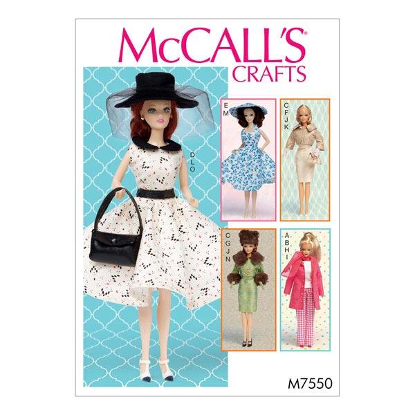 Ropa de muñeca, McCalls 7550 - Patrones de corte Vestidos de muñeca ...