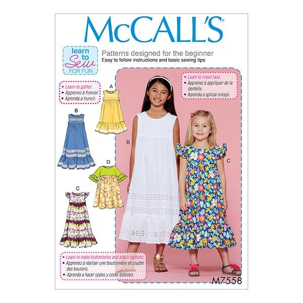 Mädchenkleid, McCalls 7558 | 128 - 152 - Schnittmuster Kleinkind ...