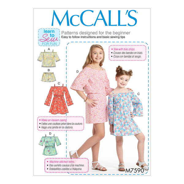 4cead0b005d Pigekjole, McCalls 7590 | 128 - 152 - snitmønstre-småbørn ...