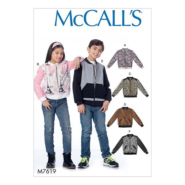 694c706e4 Chaqueta tipo bomber para chica/chico   Blusón cazadora, McCalls 7619 ...