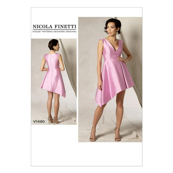 Kleid, Vogue 1490 | 32 - 40 - Schnittmuster Kleid- stoffe.de