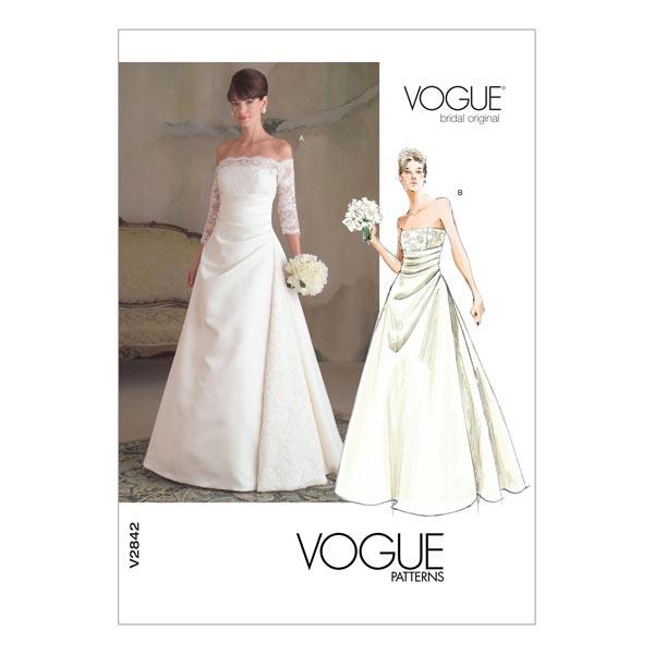 traje de novia, vogue 2842 | 44 - 48 - patrones de corte vestido de
