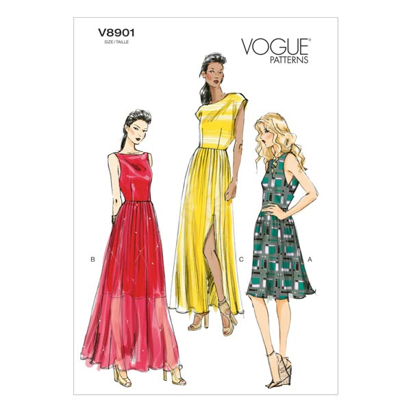 Maxikleider, Vogue 8901   32 - 40 - Schnittmuster Kleid- stoffe.de