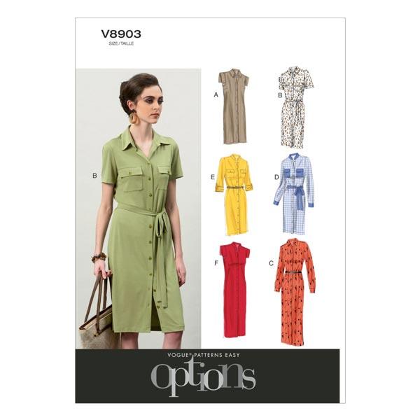 Blusenkleider, Vogue 8903 | 32 - 40 - Schnittmuster Kleid- stoffe.de