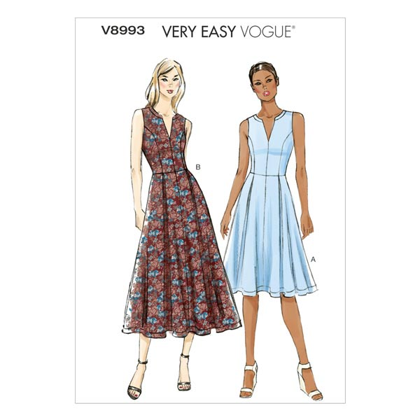 Kleid, Vogue 8993 | 34 - 42 - Schnittmuster Kleid- stoffe.de