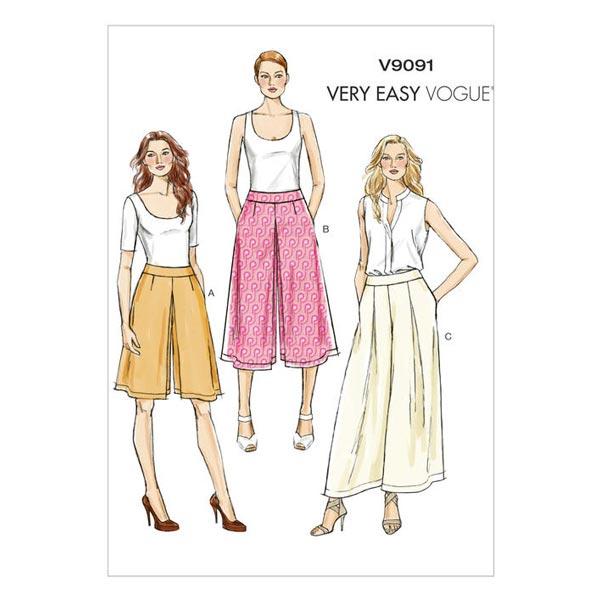 Culottes / Hose, Vogue V9091 - Schnittmuster Hose- stoffe.de