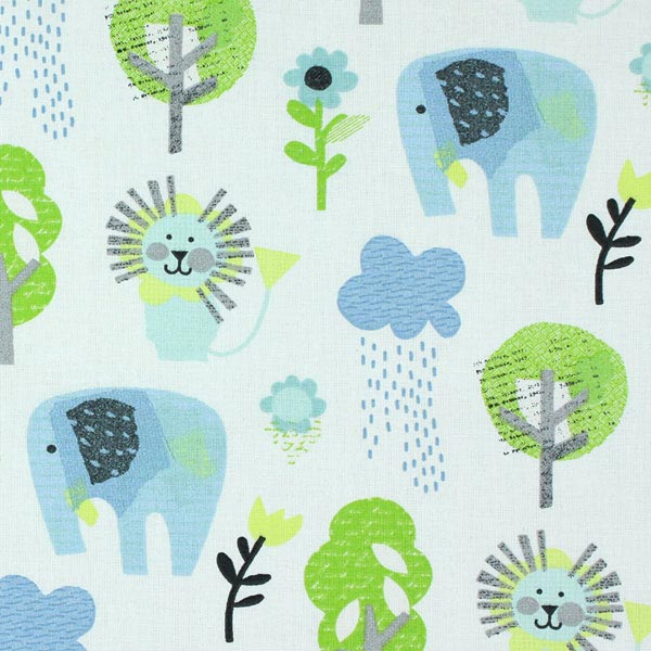 Cotton stamp zoo 2 children s decor fabricsfavorable for Childrens animal fabric