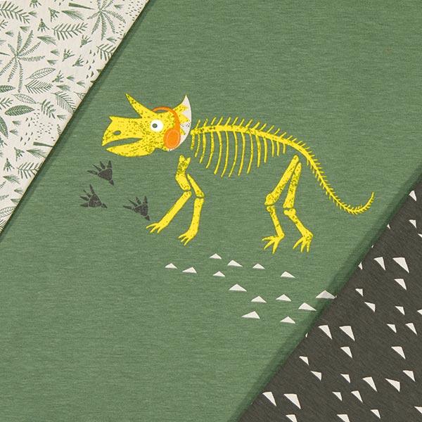Panel Baumwolljersey Dinosaurier-Skelett – khaki/schlamm