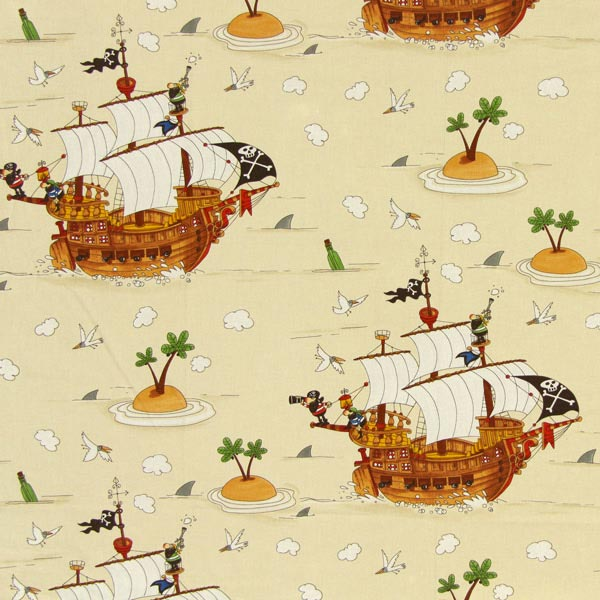 Cotton pirate 1 children s decor fabricsfavorable buying for Kids pirate fabric