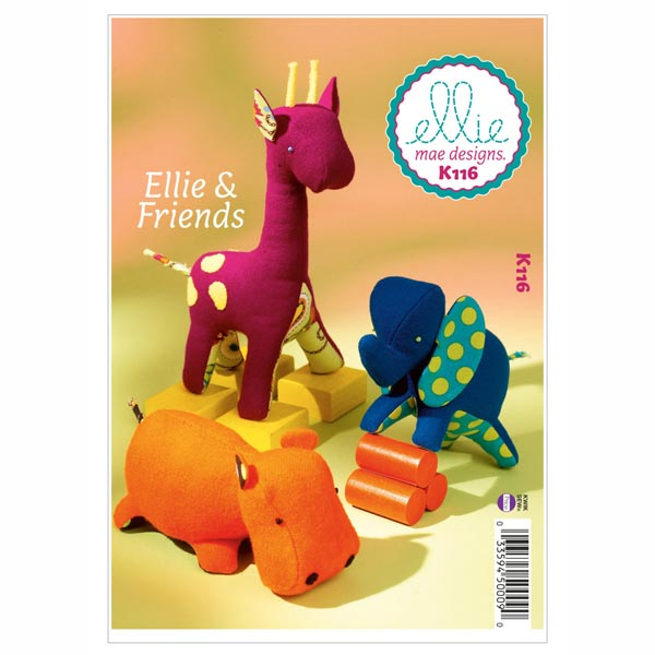 Stofftiere Elefant/ Giraffe / Nilpferd, KwikSew 0116 - Schnittmuster ...