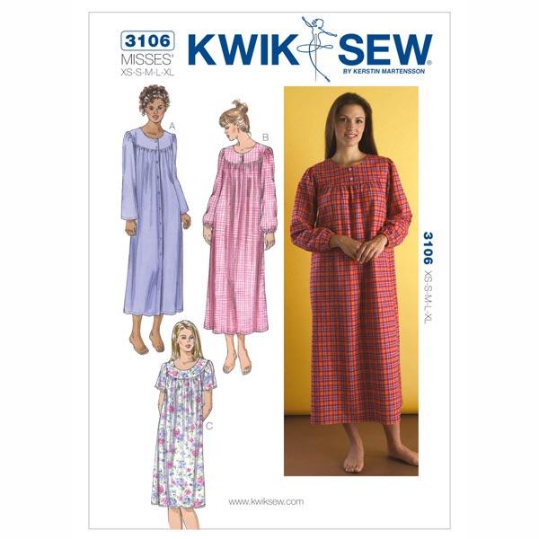 Nachthemd, KwikSew 3106 | XS - XL - Schnittmuster Wäsche- stoffe.de