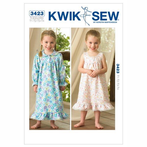 Nachthemd für Mädchen, KwikSew 3423 | 80 - 104 - Schnittmuster ...