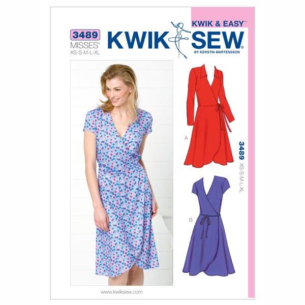 Wickelkleid, KwikSew 3489 | XS - XL - Schnittmuster Kleid- stoffe.de