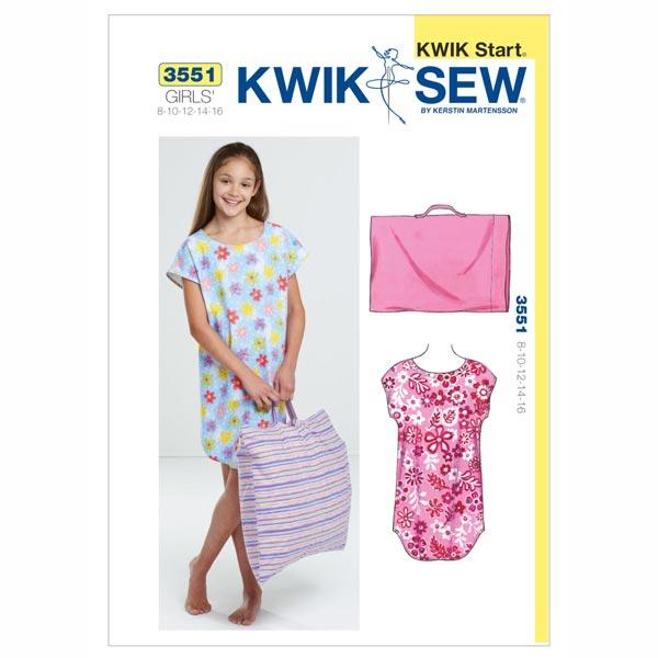 Nachthemd & Kissenbezug für Mädchen, KwikSew 3551 | 134 - 164 ...
