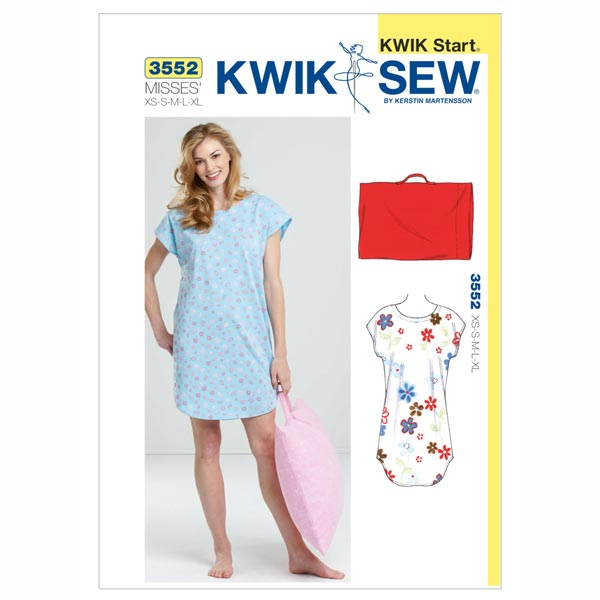 Nachthemd & Kissenbezug, KwikSew 3552 | XS - XL - Schnittmuster ...