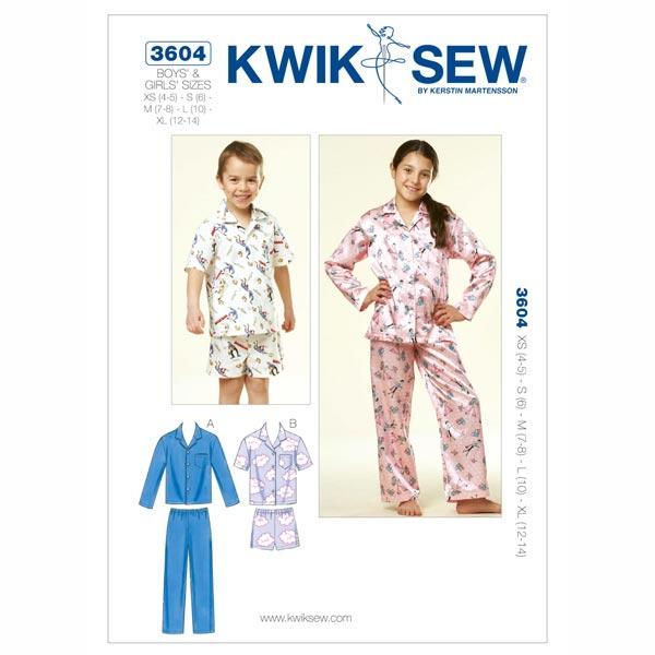 Pyjama für Mädchen | Jungen, KwikSew 3604 | 110 - 152 ...