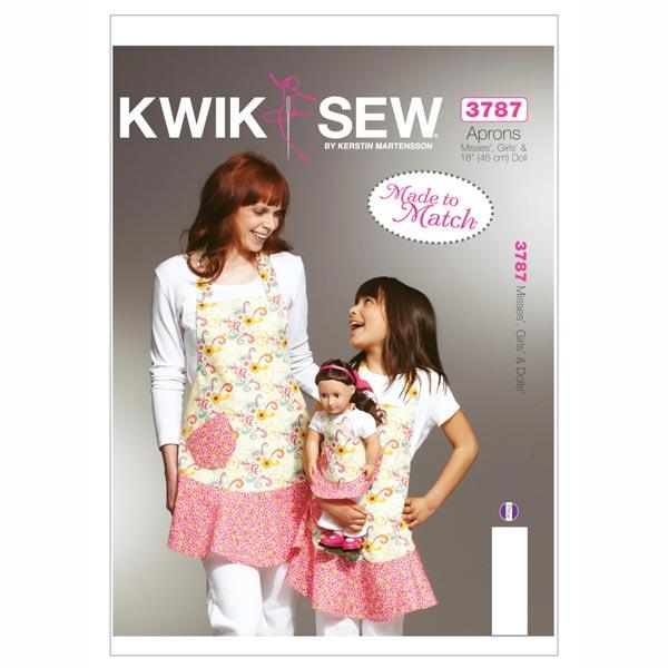 Schürzen für Kinder / Mädchen / Puppen, KwikSew 3787 - Schnittmuster ...