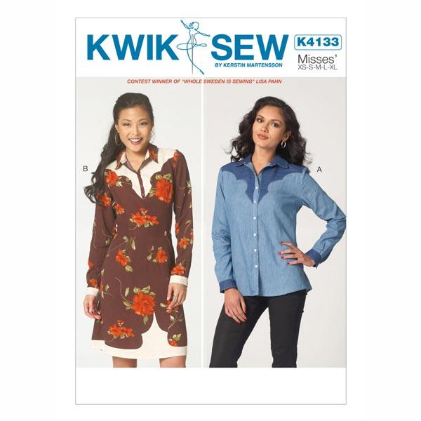 Kleid / Bluse, KwikSew 4133 - Schnittmuster Tops & Blusen- stoffe.de