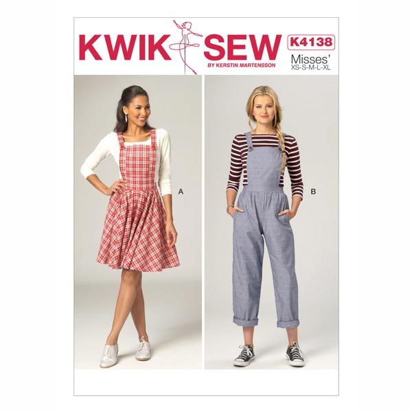 Latzhose   Kleid, KwikSew 4138   XS - XL - Schnittmuster Hose- stoffe.de