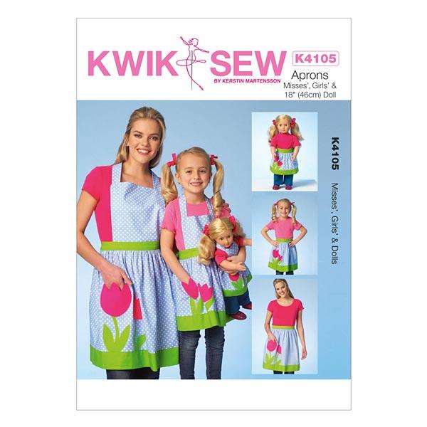Damen / Mädchen / Puppen Schürzen, KwikSew 4105 - Schnittmuster Baby ...