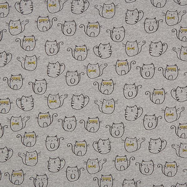 Sommersweat Coole Katzen 2 – dunkelgrau - Muster