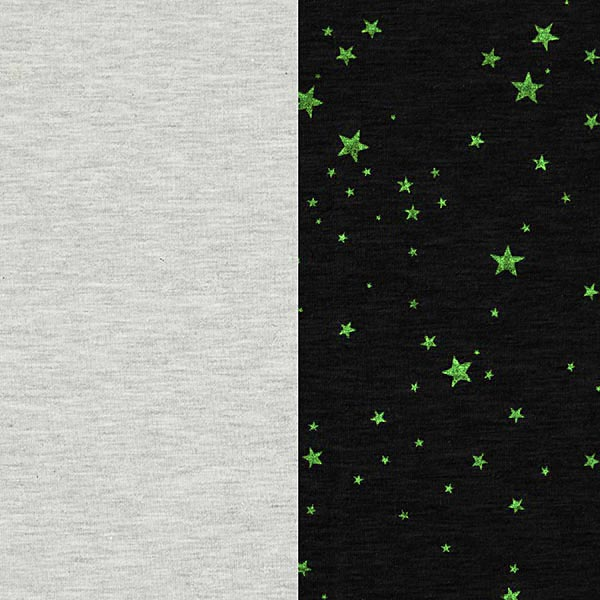 Grauer Jerseystoff 'Glow-in-the-dark' Sterne