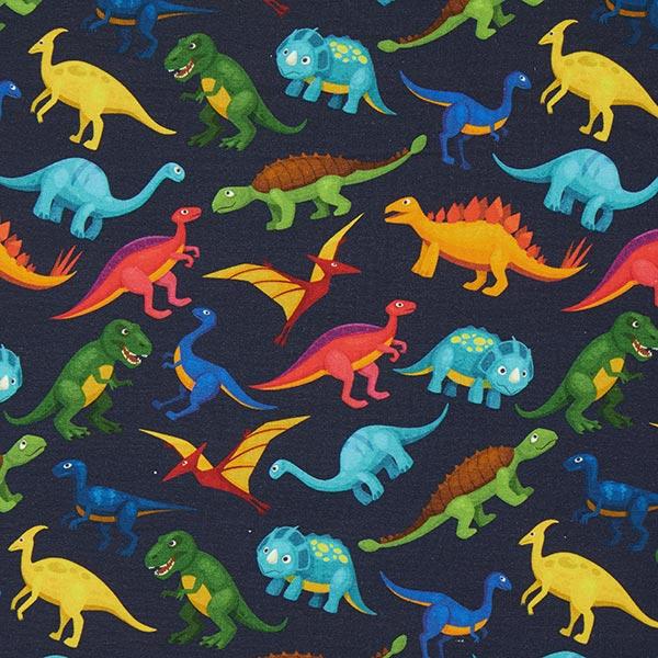 Marineblauer Sommersweat mit bunten Dinosauriern