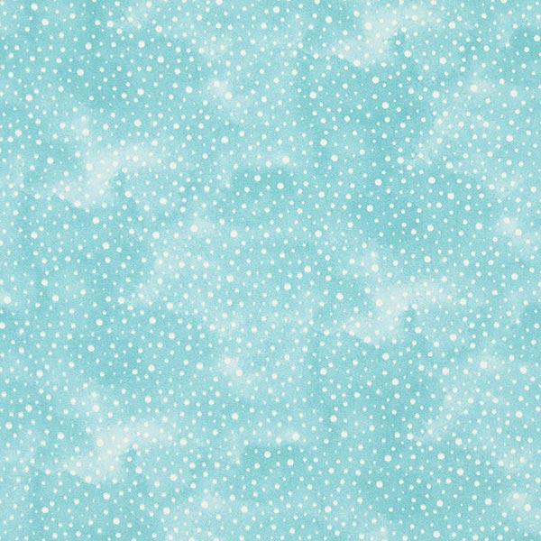 Aquablauer Baumwollstoff mit weißen Punkten