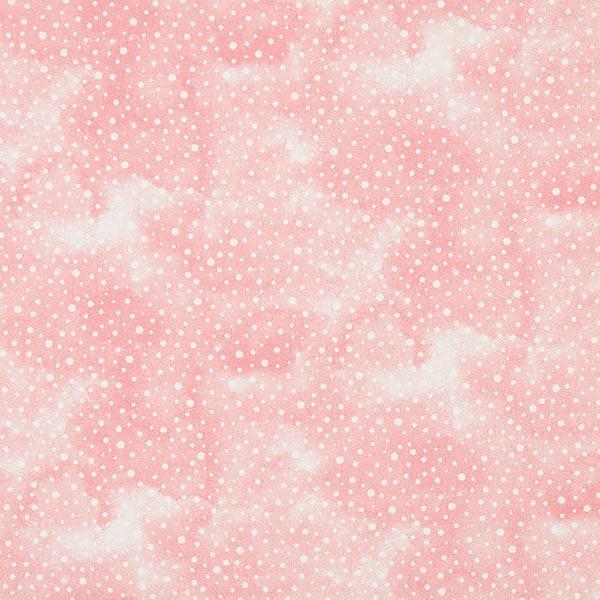 Rosafarbener Baumwollstoff mit weißen Punkten