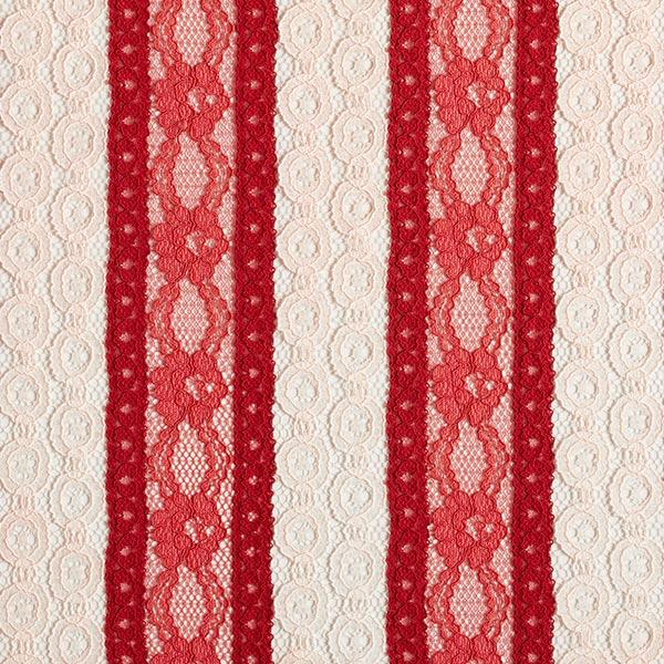 Encaje Círculo de flores – rojo - Encajes- telas.es