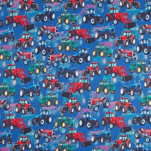 Königsblauer Softshell mit Traktoren