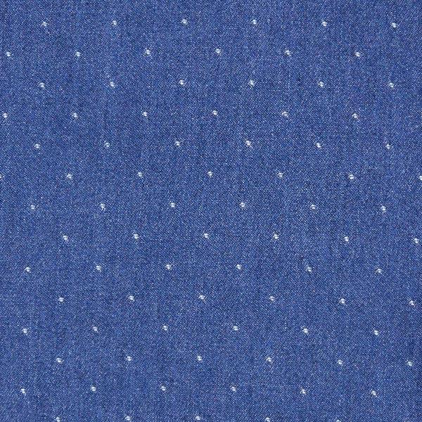 Marineblauer Chambray im Jeanslook mit weißen Punkten