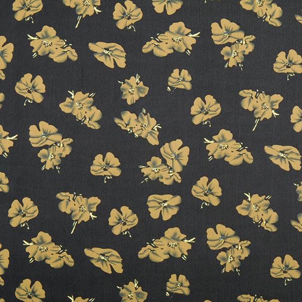 Chiffon Hibiskus Blüte – schwarz - Chiffon- stoffe.de